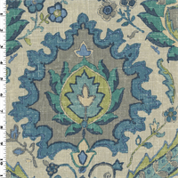 *3 1/8 YD PC--Teal Multi Covington Floral Print Home Decorating Fabric