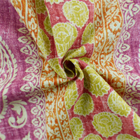 *6 YD PC--Fuchsia/Multi Floral Stripe Print Home Decorating Fabric