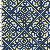 *4 7/8 YD PC--Deep Blue/Ivory Waverly Lace It Up Home Decorating Fabric