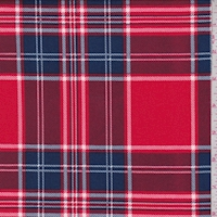 Pale Red/Ink Plaid Double Brushed Jersey Knit
