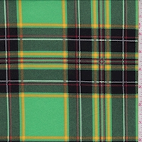 Cricket Green/Black Plaid Double Brushed Jersey Knit