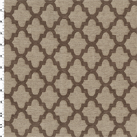 *2 1/4 YD PC--Brown/Beige Ogee Chenille Jacquard Decorating Fabric