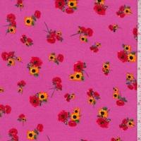 Fuchsia Rose/Sunflower Double Brushed Jersey Knit