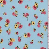 Light Blue Rose/Sunflower Double Brushed Jersey Knit