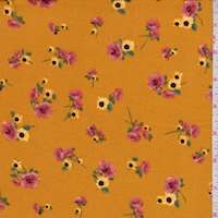 Ochre Gold Rose/Sunflower Double Brushed Jersey Knit