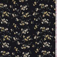 Black/Yellow Mini Daisy Double Brushed Jersey Knit