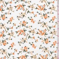 White/Dark Apricot Mini Daisy Double Brushed Jersey Knit
