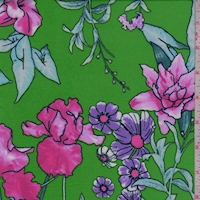 Bright Green/Fuchsia/Lilac Floral Double Brushed Jersey Knit