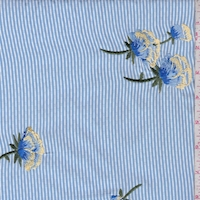 Sky Blue/White Stripe Embroidered Floral Polyester