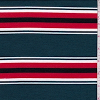 Spruce/Red Stripe Brushed French Terry Knit