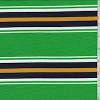 Lime/Navy/Gold Stripe Brushed French Terry Knit
