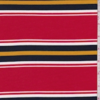 Red/Navy/White Stripe Brushed French Terry Knit