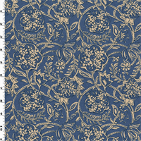 *2 1/2 YD PC--Blue/Ivory Cotton Floral Print Woven Home Decorating Fabric