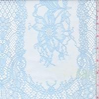 Light Blue Floral Stripe Mesh Lace