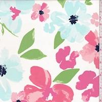 Cream/Coral/Pale Blue Floral Swimwear
