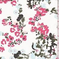 Dark Ivory/Coral/Blue Mottled Floral Swimwear