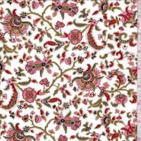 White/Crimson/Olive Stylized Floral Vine Swimwear