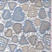Sky/Pearl Grey Heart Guipure Lace