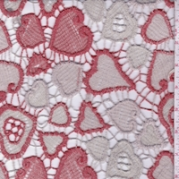 Natural/Pale Red Heart Guipure Lace