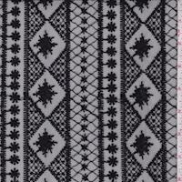 Black Embroidered Deco Stripe Tulle