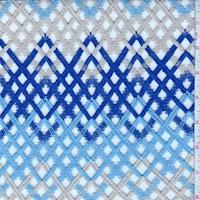 Cobalt/Blue/Beige Chevron Lace