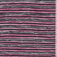 Pink/Black/Grey Stripe Sweater Knit