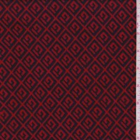 *1 YD PC--Red/Black Greek Key Diamond Jacquard Double Knit