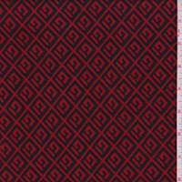 *3/4 YD PC--Red/Black Greek Key Diamond Jacquard Double Knit
