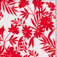 *1 YD PC--White/Fire Red Floral Nylon Knit