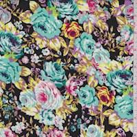 *1 1/2 YD PC--Black/Ice Blue Multi Floral Rayon Challis