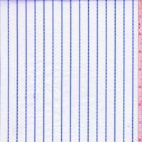 *1 3/8 YD PC--White/Navy Embroidered Stripe Cotton