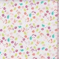 *1 YD PC--White/Lime/Red Birdie Floral Cotton Flannel
