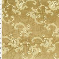 *1 YD PC--Brown/Luster Floral Embroidered Velvet Decorating Fabric