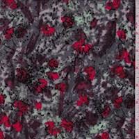 *1 7/8 YD PC--Granite/Mint/Red Marble Floral Crepe