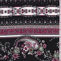 *3 3/8 YD PC--Black/Berry Stylized Stripe Print Cotton