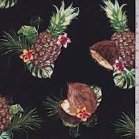 *3 3/4 YD PC--Black Tropical Fruit Rayon Challis
