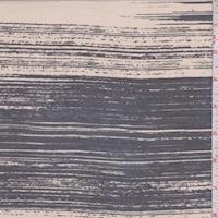 *1 3/4 YD PC--Beige/Slate Brush Stroke Stripe Lawn