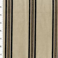 *3 1/2 YD PC--Beige/Charcoal Stripe Woven Home Decorating Fabric