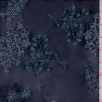 Navy/Blue Hydrangea Floral Embroidered Stretch Mesh