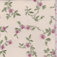Pale Beige/Pink Floral Embroidered Stretch Mesh