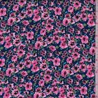 Deep Blue/Pink Floral Garden Challis