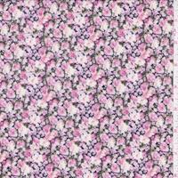 Black/Hot Pink Floral Garden Challis