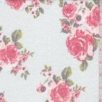 Pale Green/Brick Floral Slub Jersey Knit