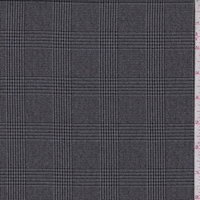 Grey/Black Glenplaid Wool Blend Flannel Suiting