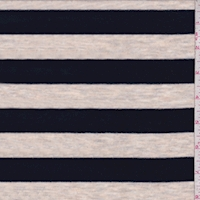 Heather Oatmeal/Midnight Stripe Rayon Jersey Knit