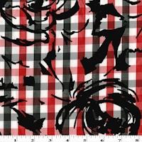 Red/White/Black Velvet Flocked Flower Print Gingham Shirting