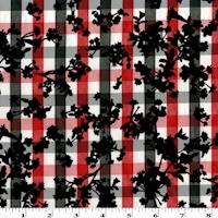 Red/White/Black Velvet Flocked Floral Print Gingham Shirting