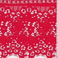 Striking Red Floral Corded Lace