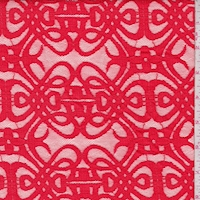 Bright Poppy Red Scroll Deco Lace