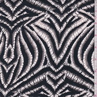 Slate Black/Pale Pink Zebra Stripe Deco Lace
